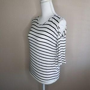Full Tilt Cold Shoulder Stripe Top Stripes Casual